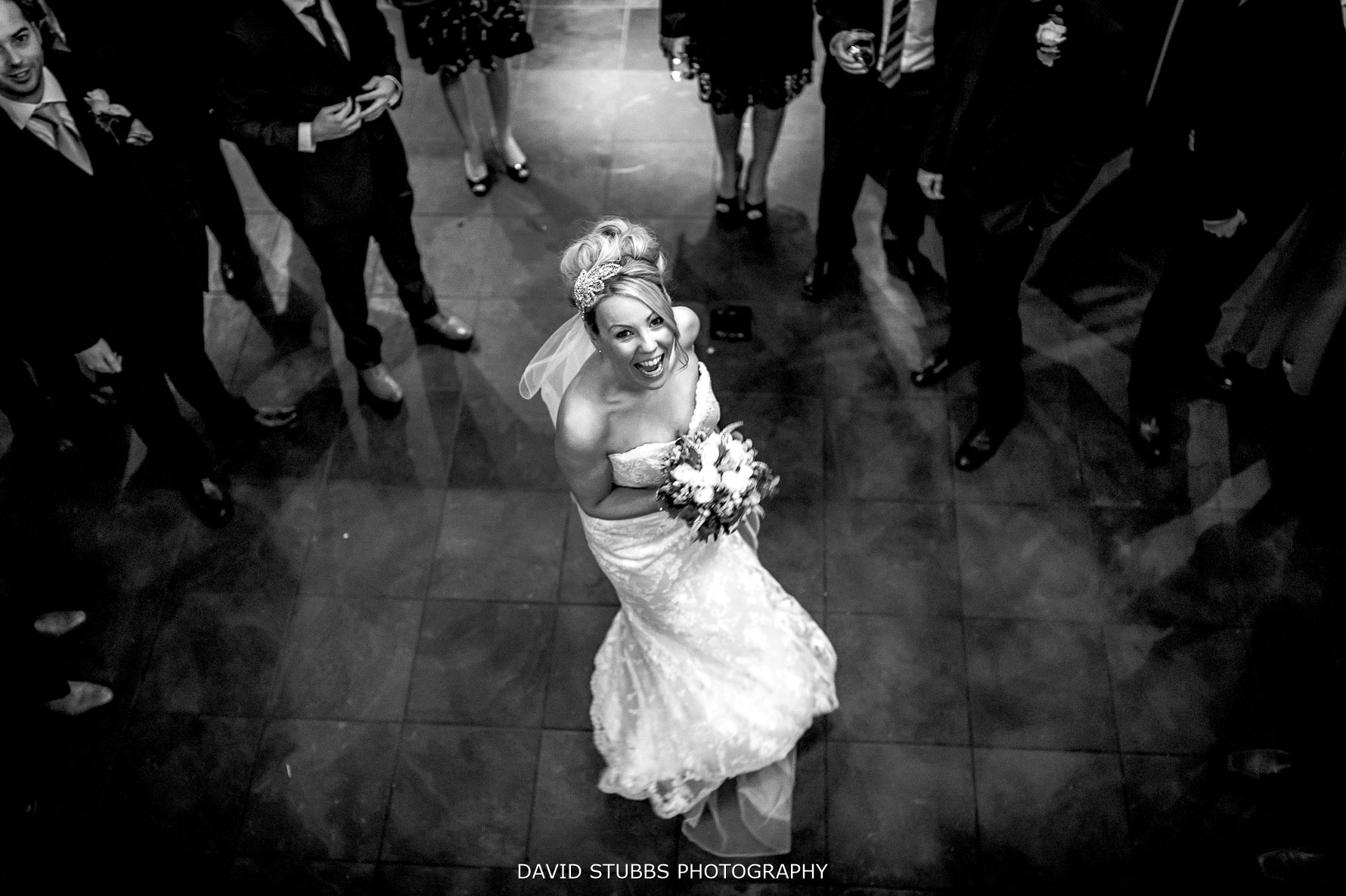 bride having a great time taken from above