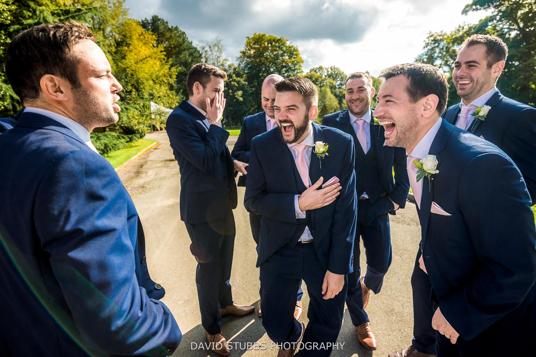 groomsmen playing games