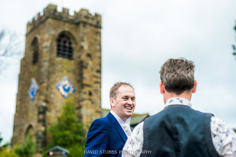 groom outside church