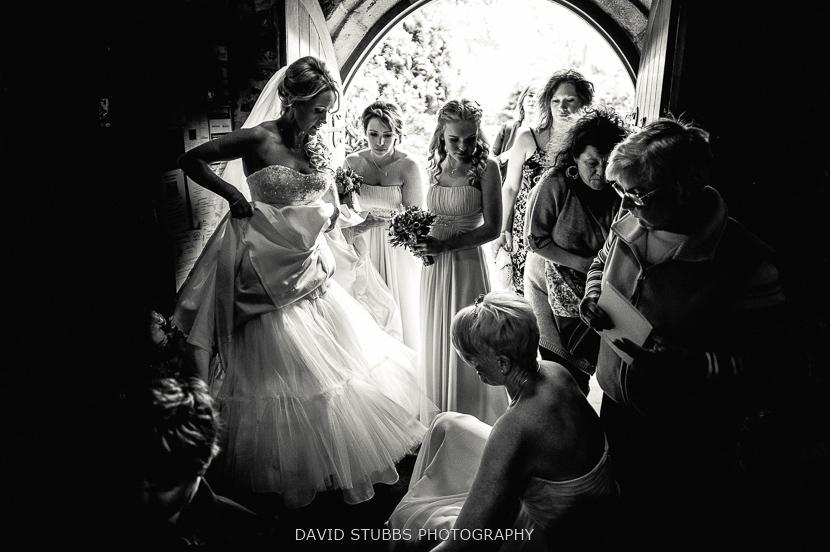 bride and friends in church
