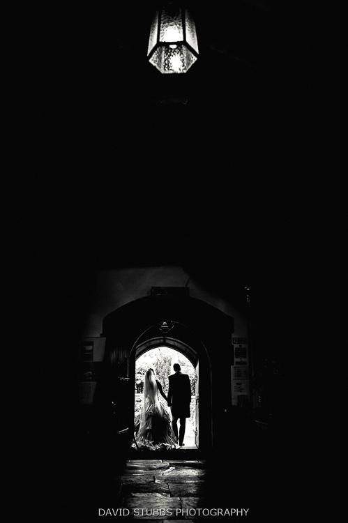 husband and wife leaving church