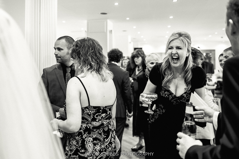 guests laughing and talking