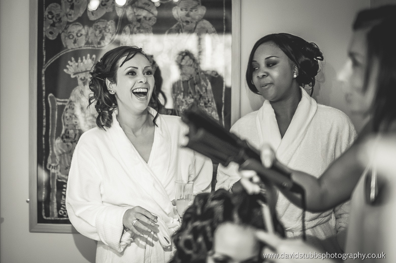 laughter by bridesmaids