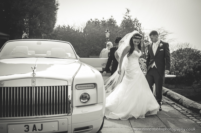 getting out of the car before her wedding