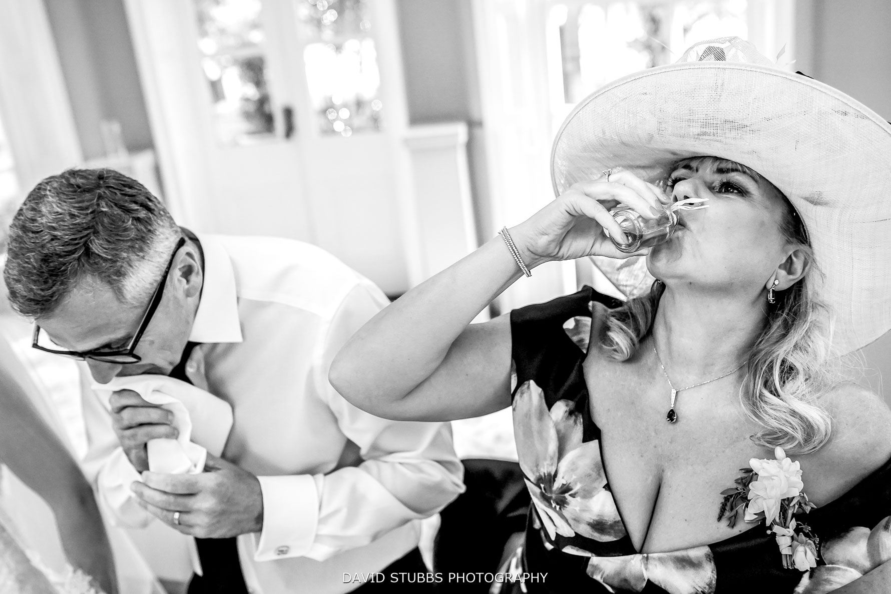 having a shot in black and white