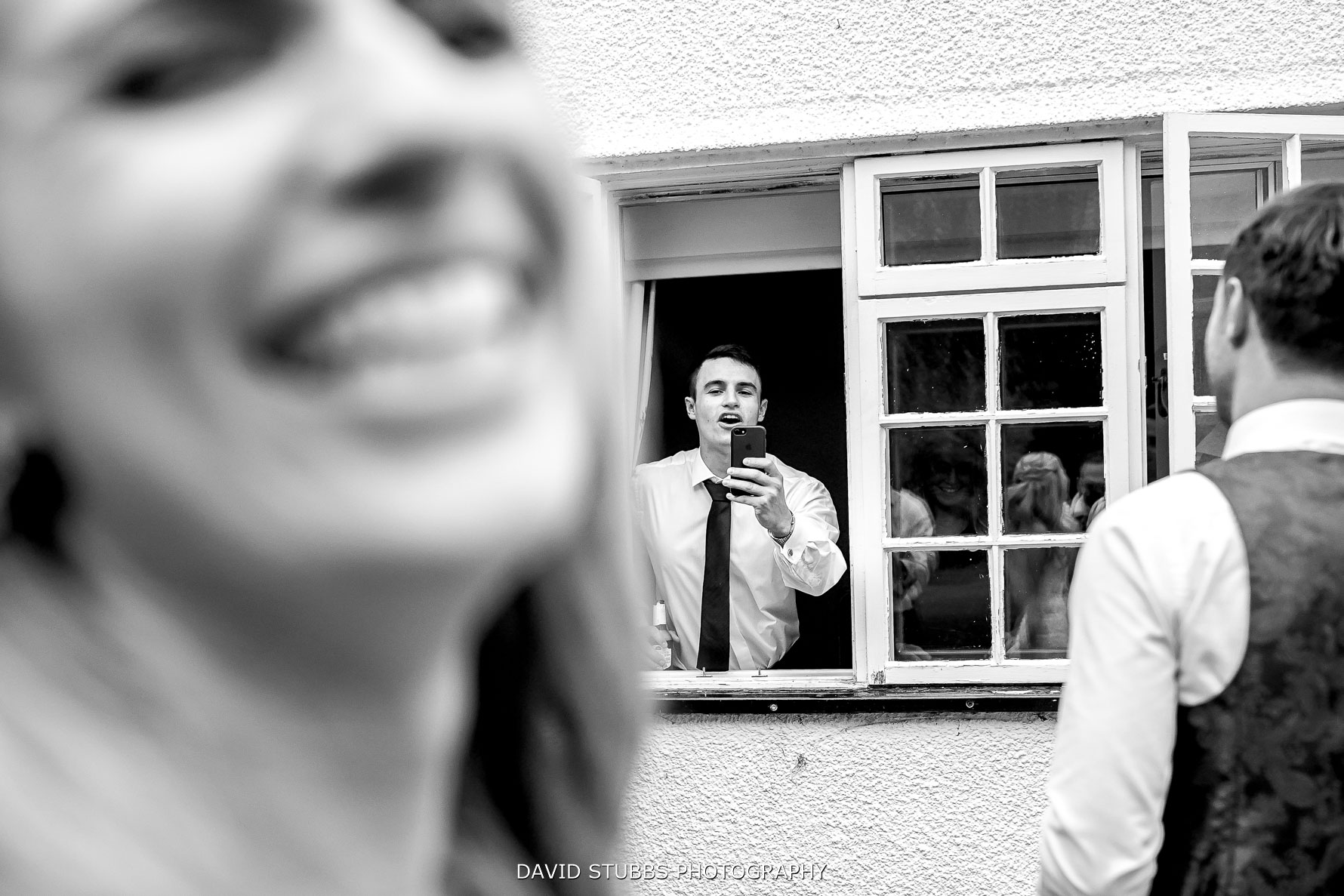 guests having fun out of the window