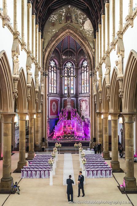inside manchester monastery setup for a wedding