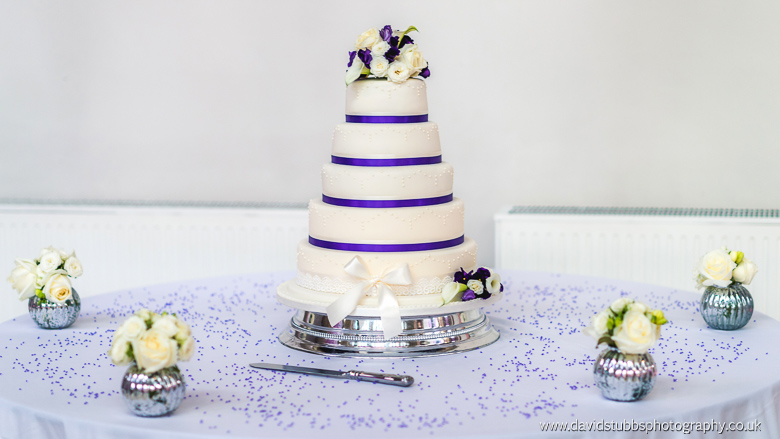 stunning wedding cake purple and in colour
