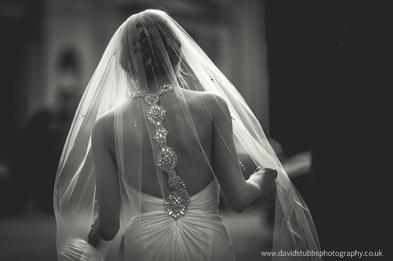 back of the dress in black and white