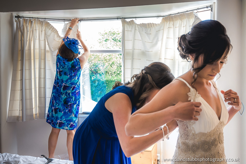 helping with the dress