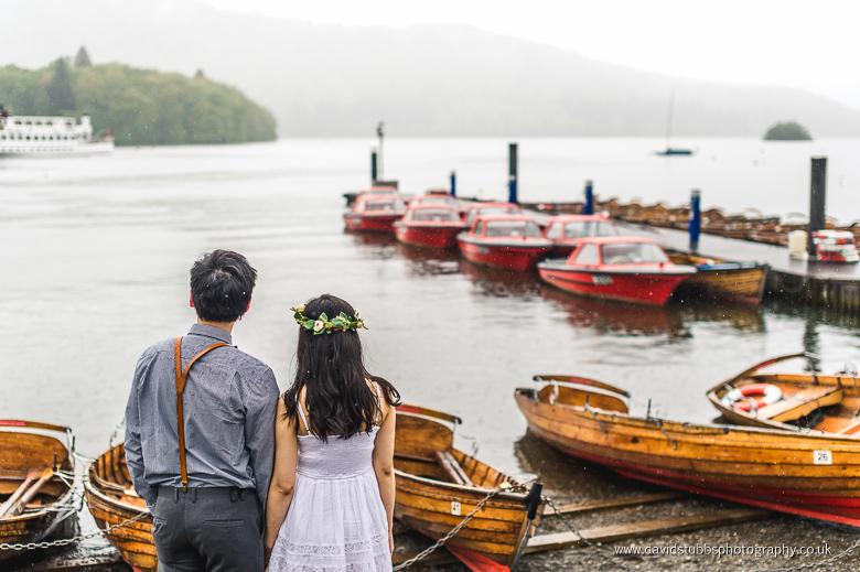 engaged couple boats lake district