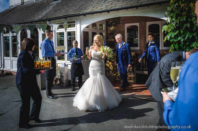 drinks outside after ceremony