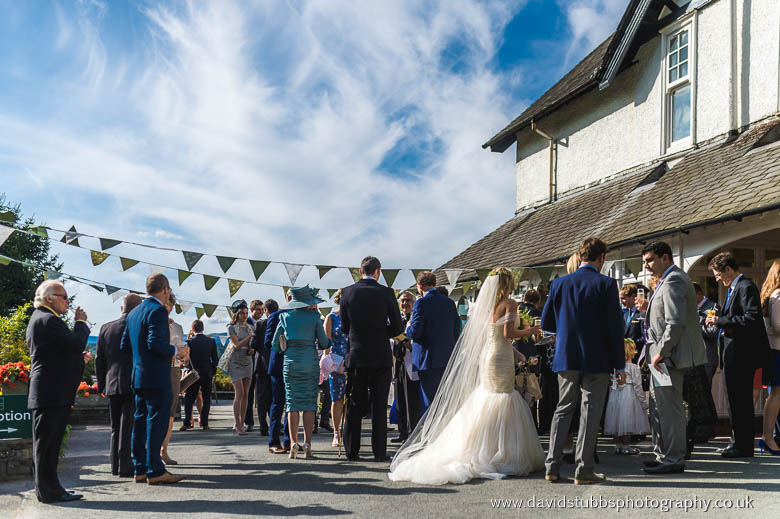 wedding guests stood outside