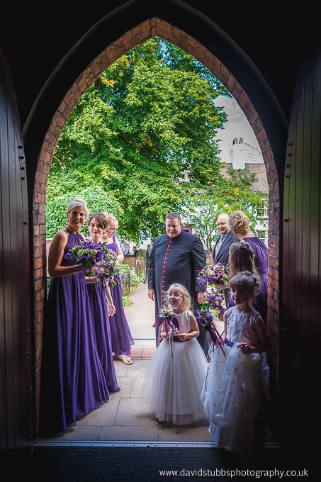 bridesmaids and friends in door