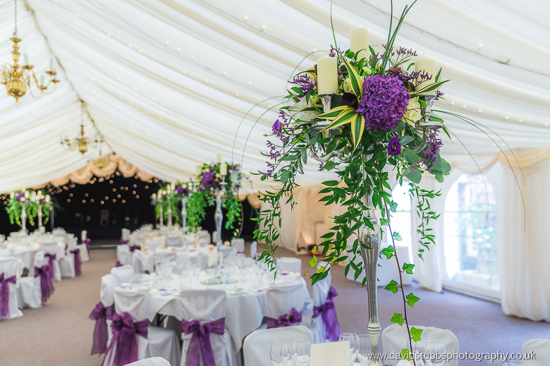 purple flowers up at reception