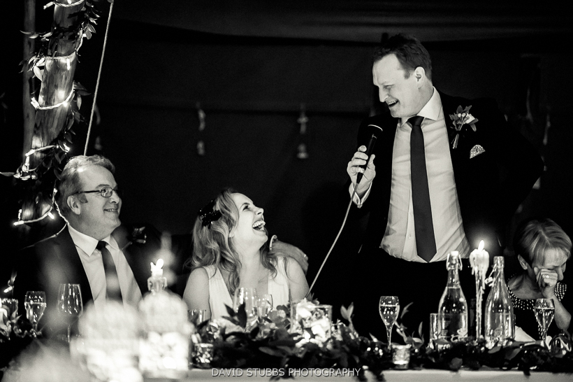 grooms speech black and white
