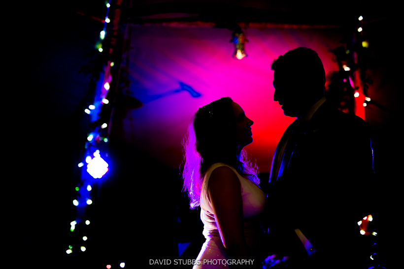 silhouette of newly married couple