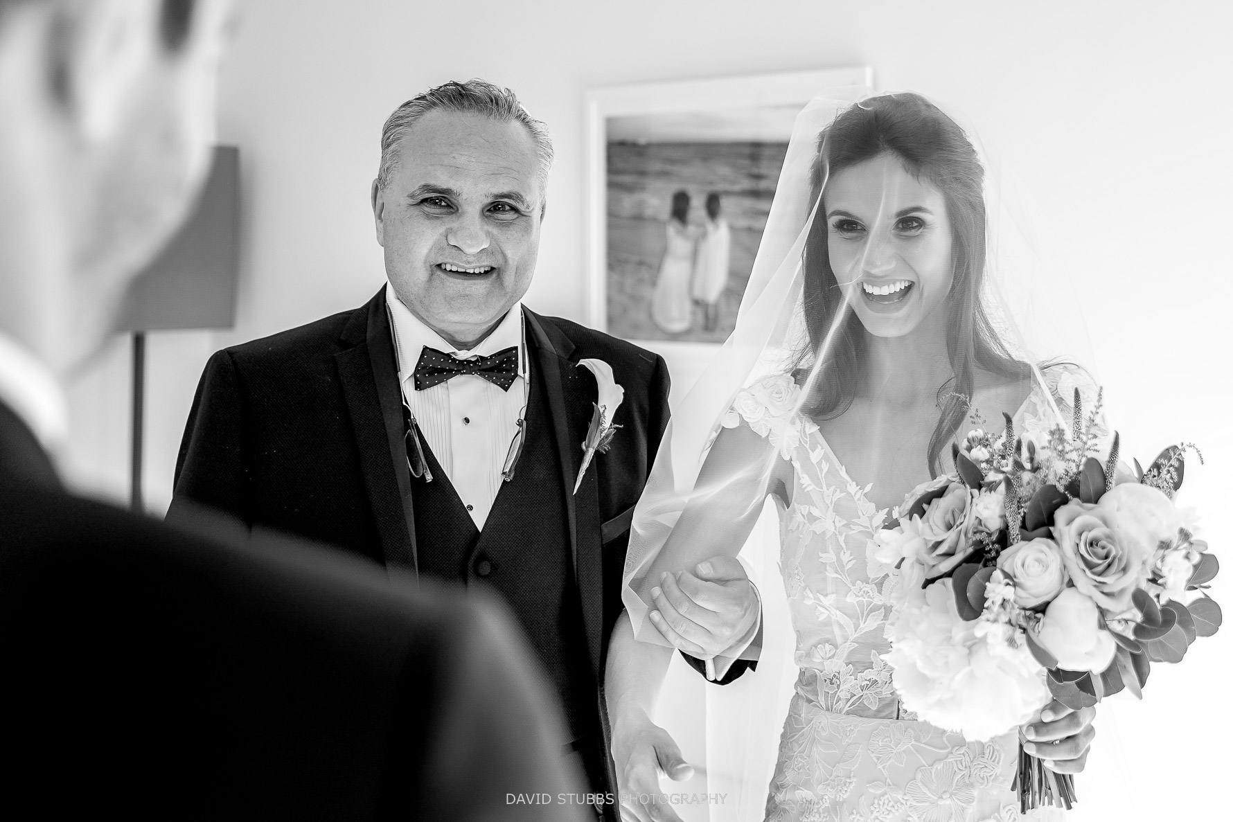 bride and dad together