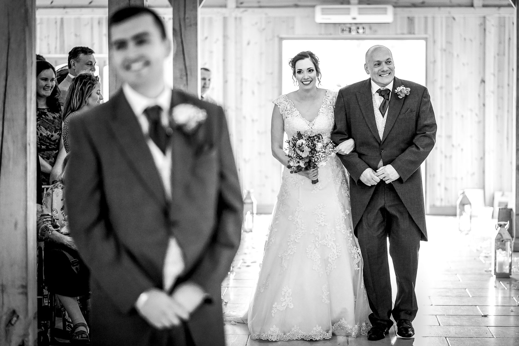 walking down the isle with her dad