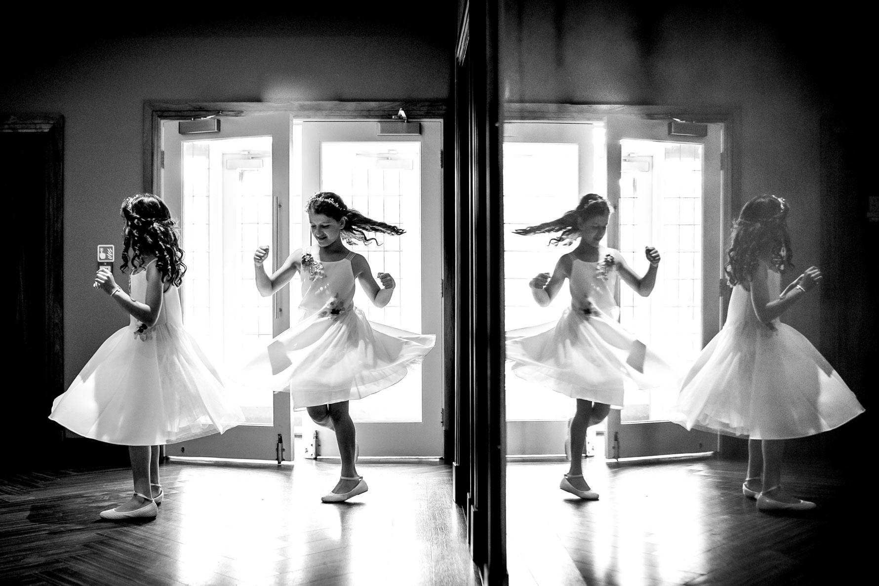 flower girls spinning reflection