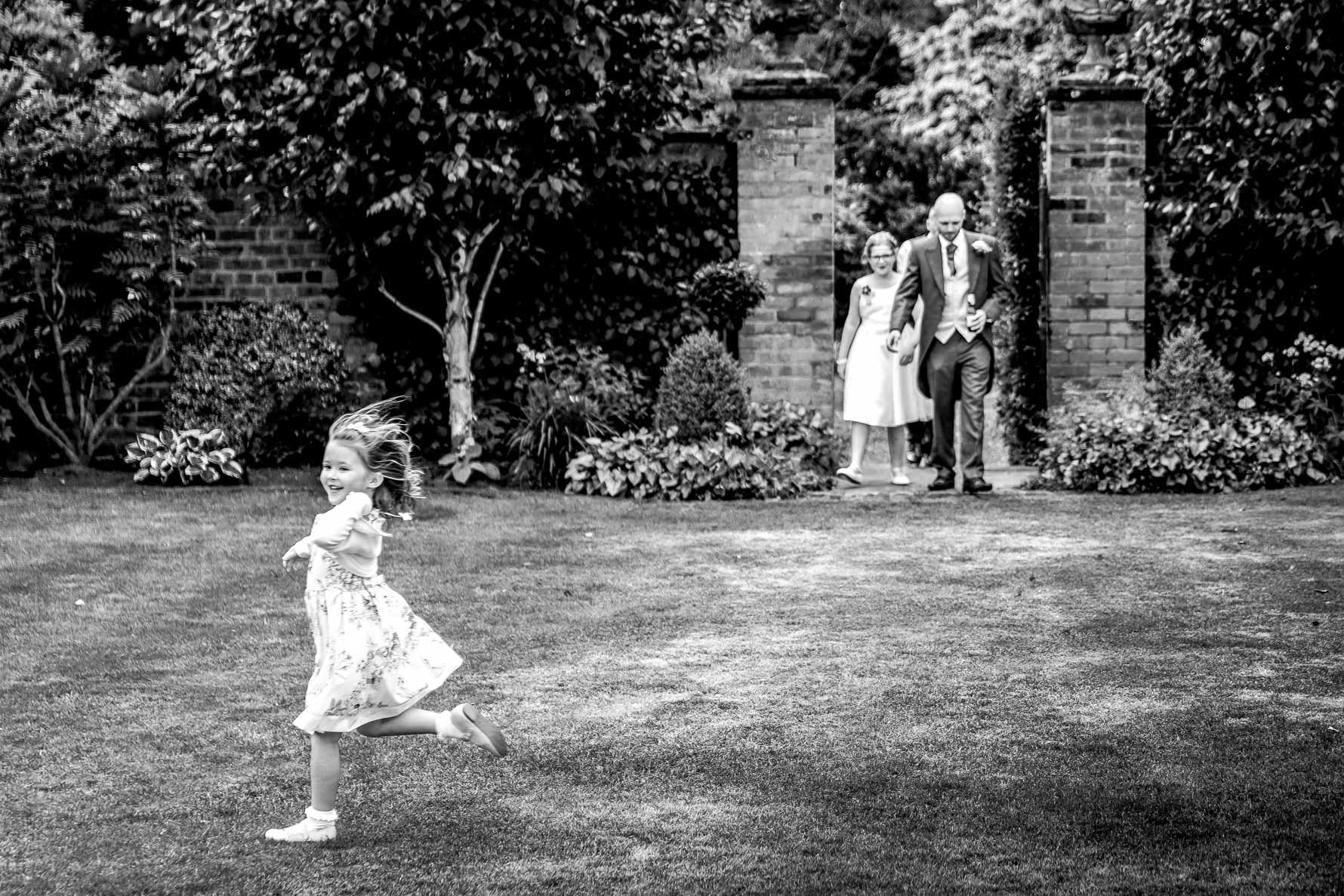 girls running across the courtyard