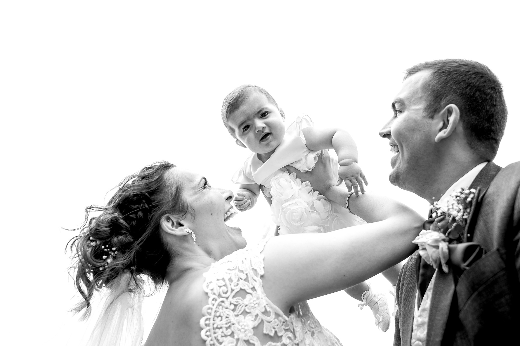 bride and grooms baby at their wedding