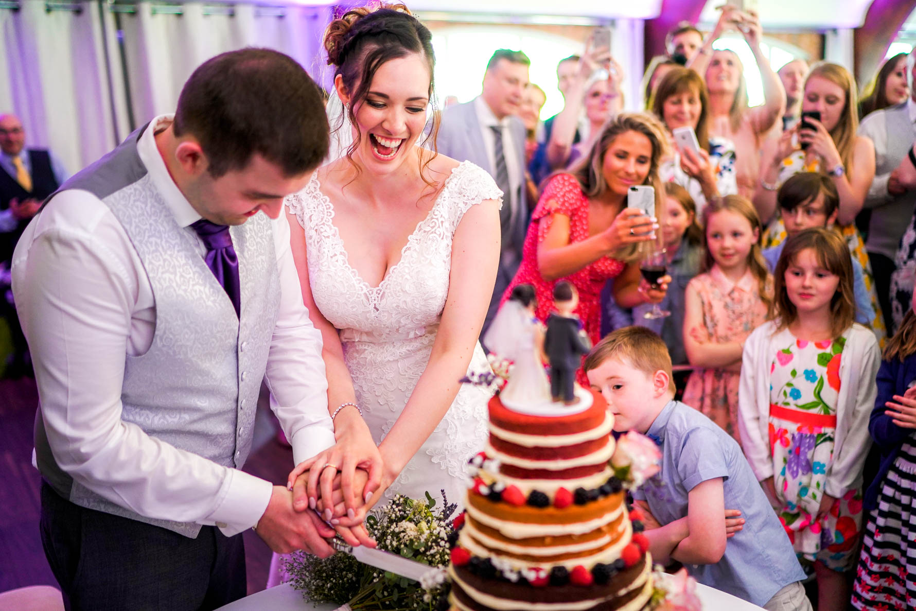 cutting the cake in the main hall