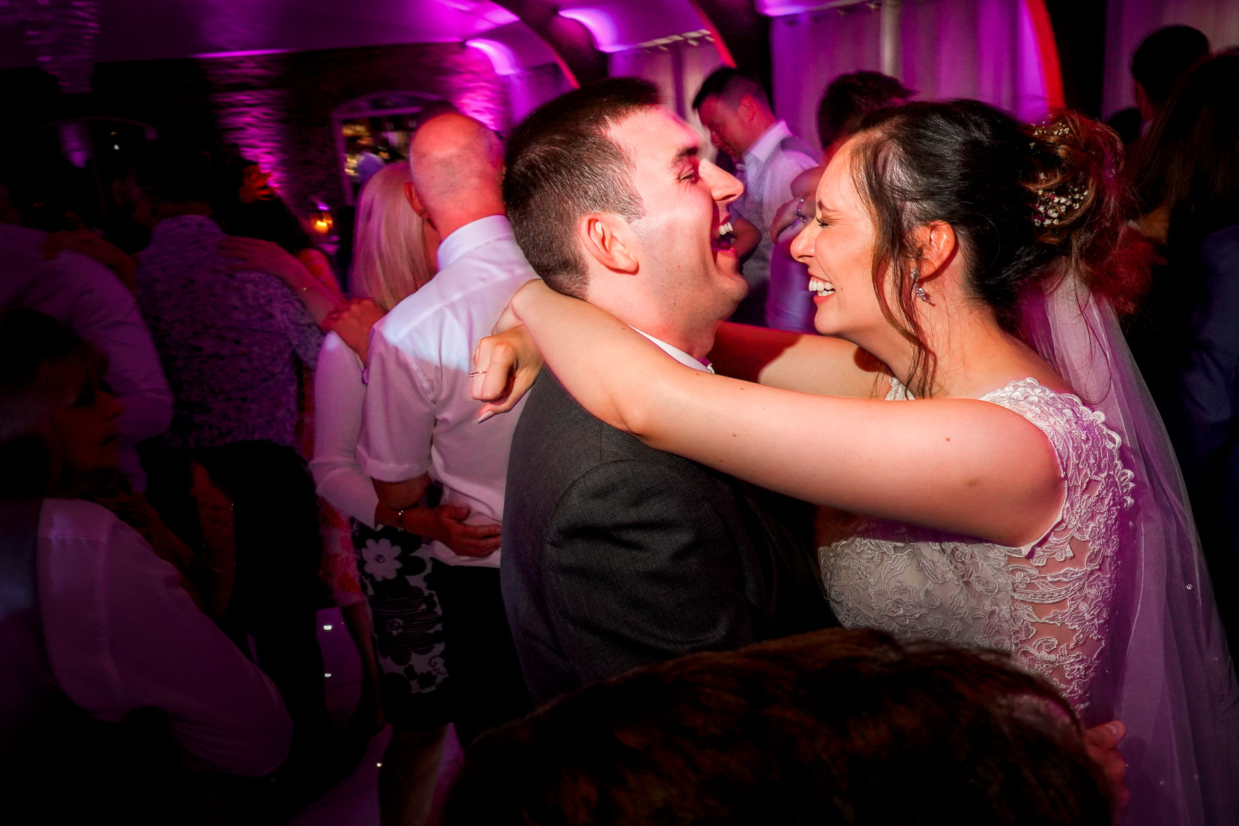 newlyweds in love dancing