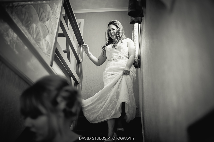 woman going down stairs