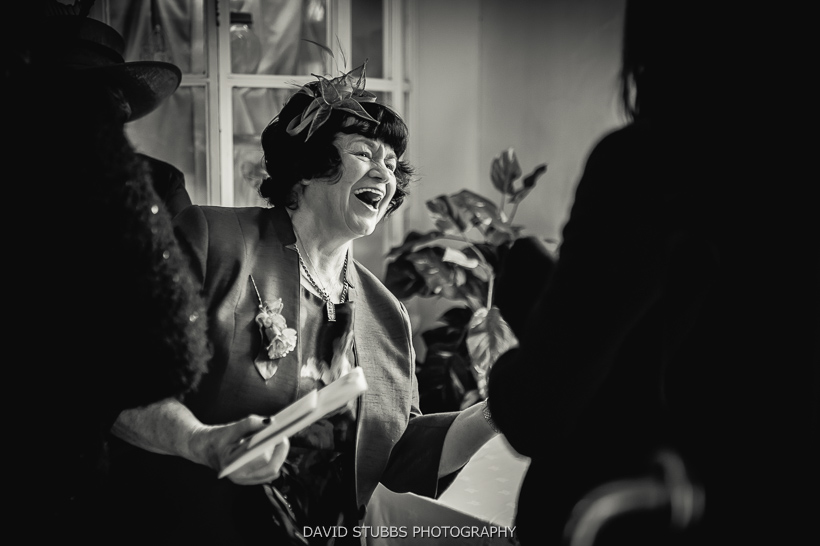 woman laughing before ceremony
