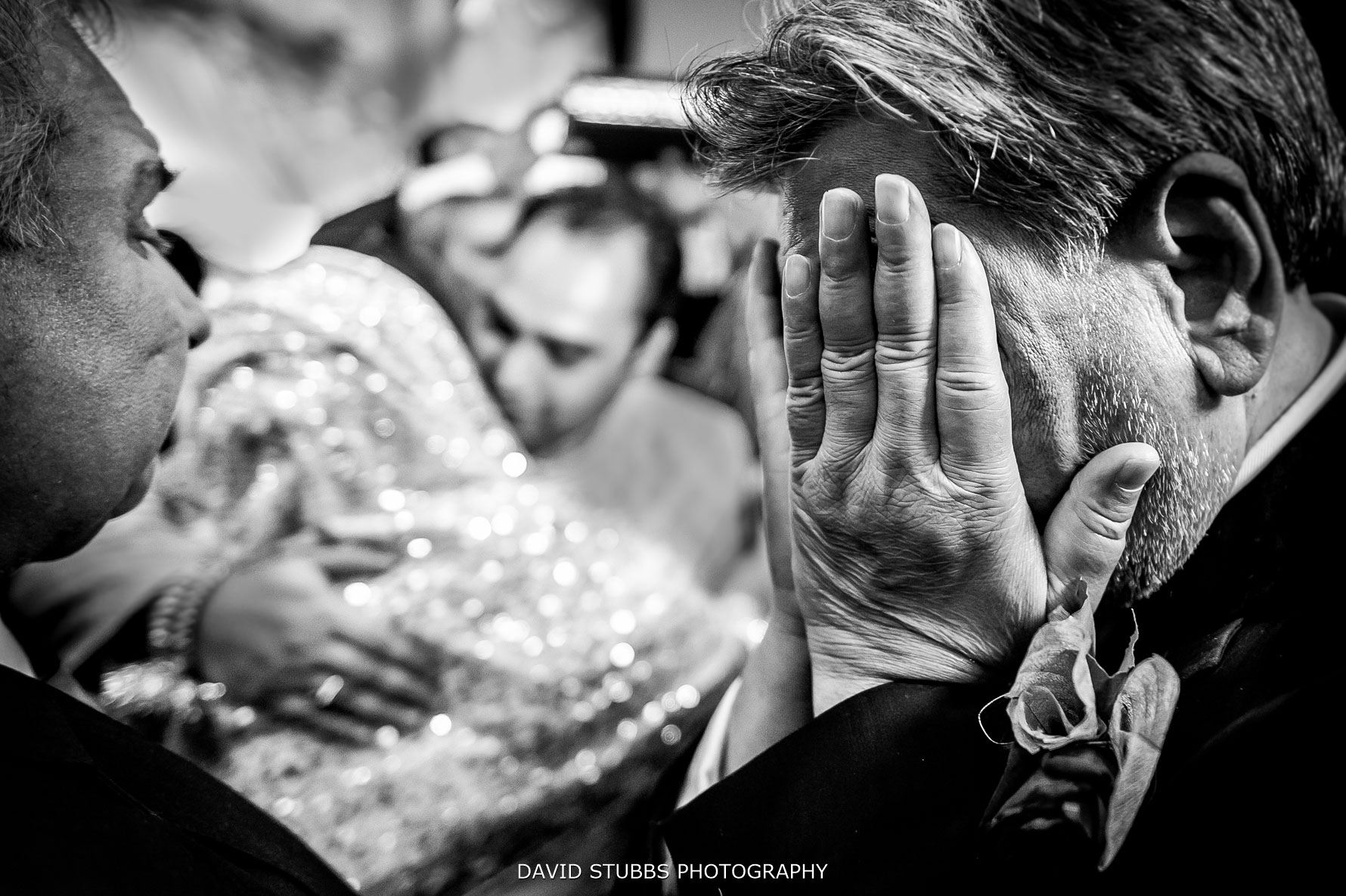 tears as the bride is leaving the family home