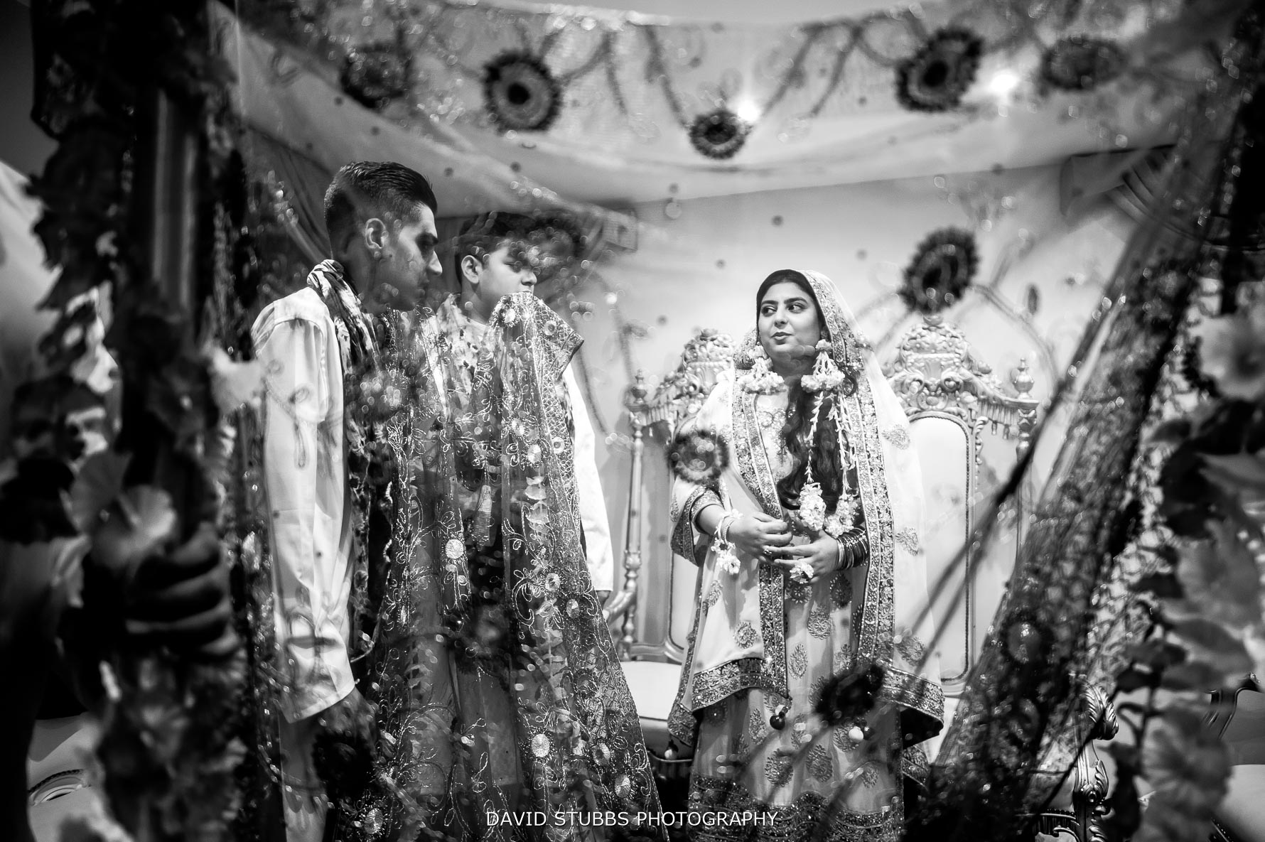bride just about ready for Asian wedding ceremony