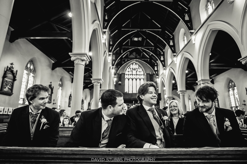 guests in church black and white