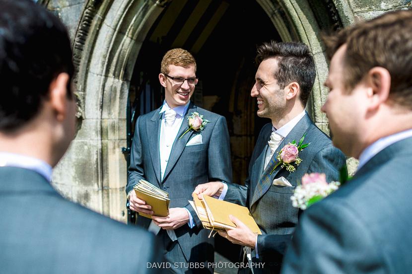 groomsmen chatting at church
