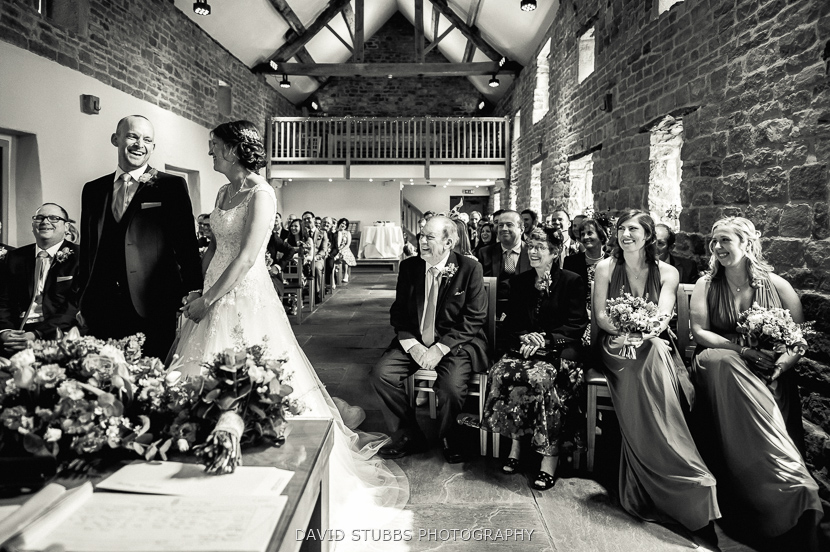 black and white wedding service