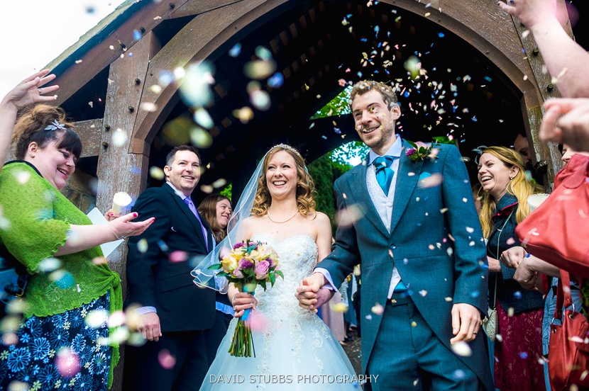 confetti throwing on couple