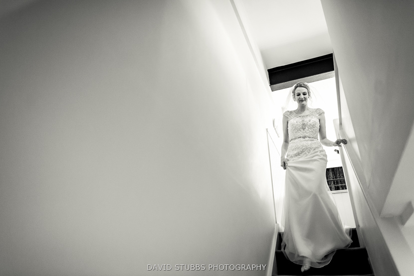 bride going down stairs