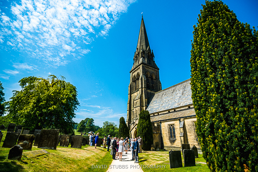 congregation on church lawn