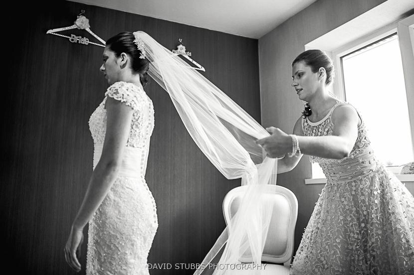 bridesmaid sorting dress and veil