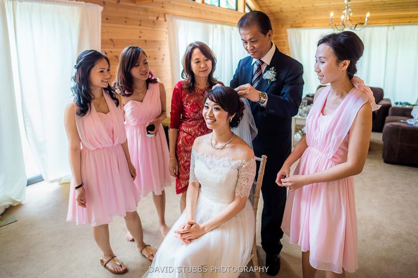 bridal party and man