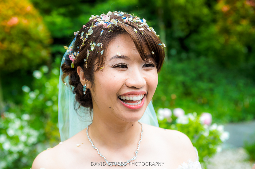 close up of bride with confetti on head