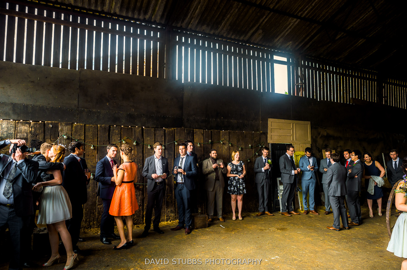 guests stood in barn