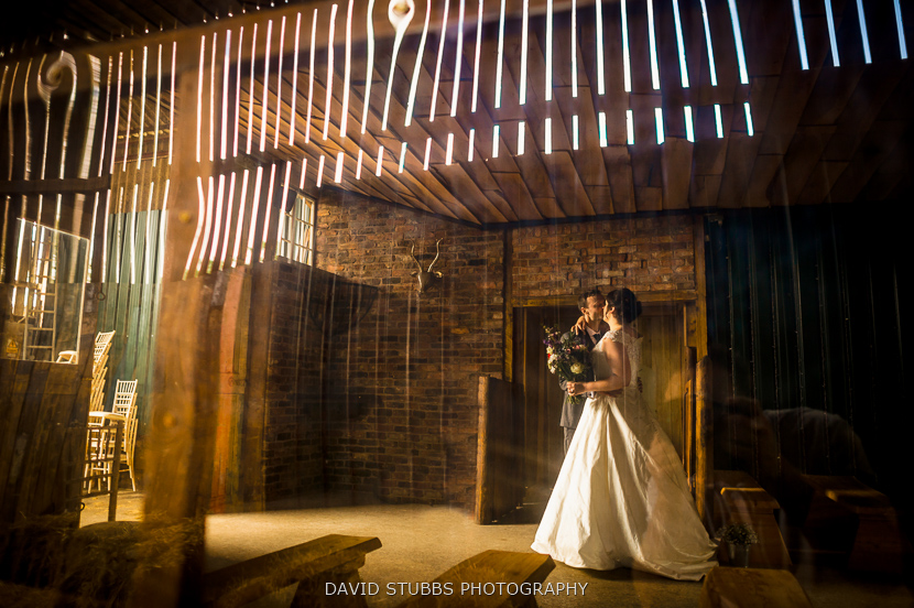 newly married couple kiss
