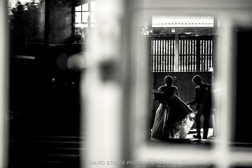 black and white photo in door