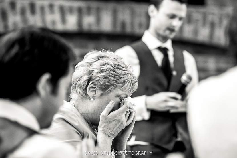 woman crying at groom speech