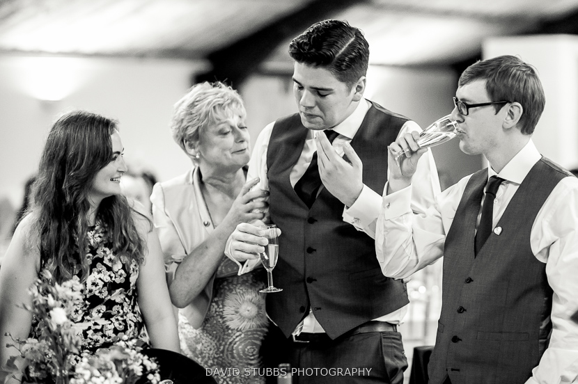 guests emotional black and white photo