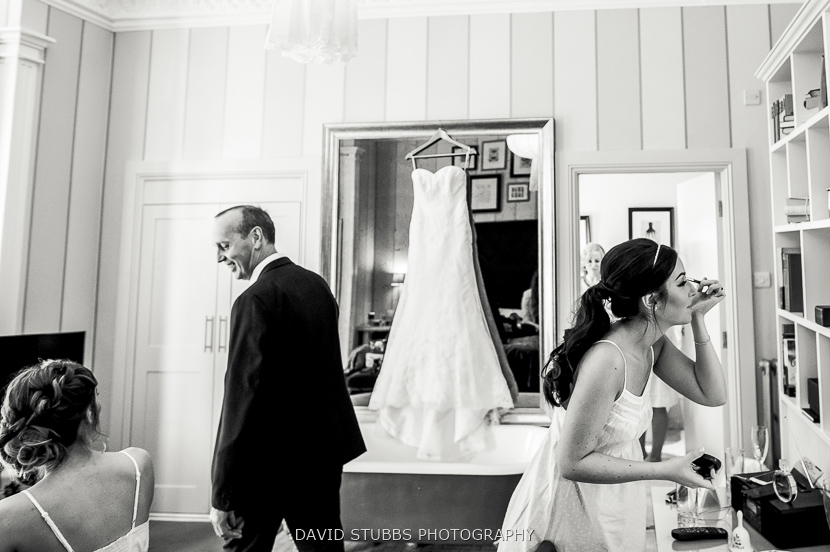 bride and father black and white