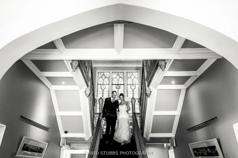 bride and dad going downstairs