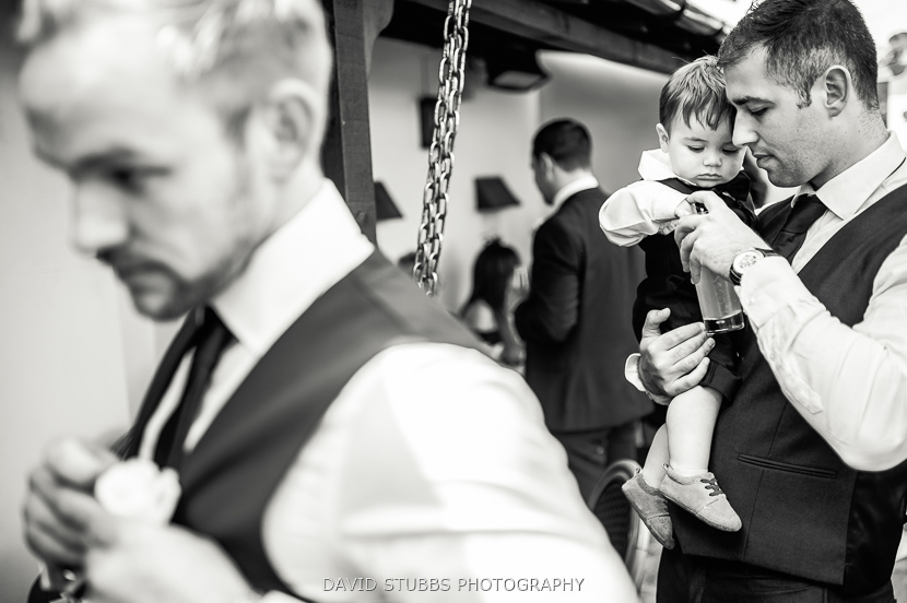 man and little boy black and white