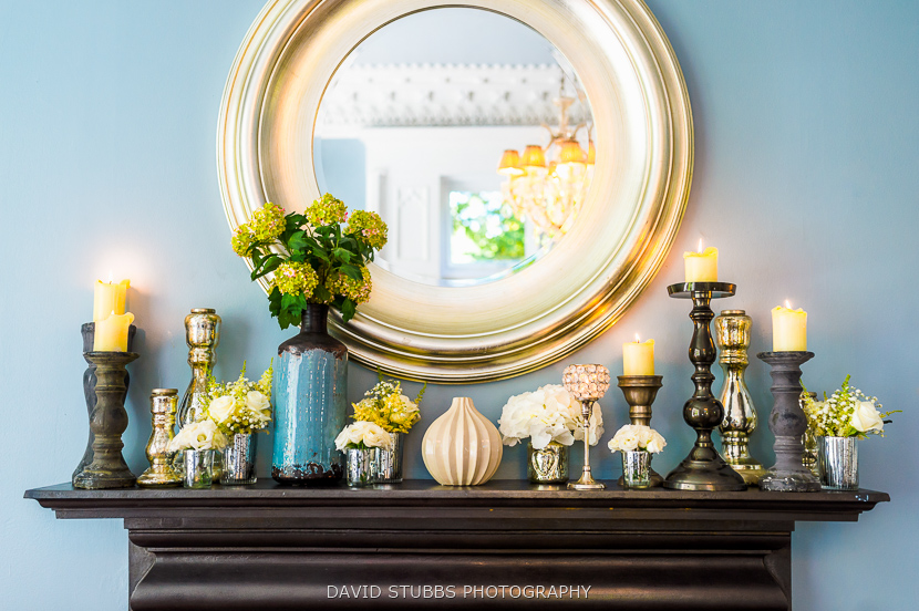 mantelpiece ornaments and candles